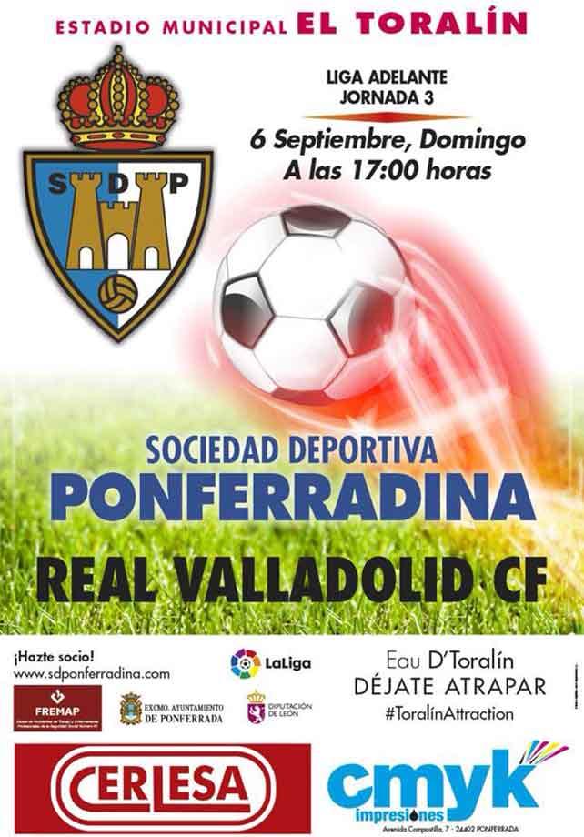 Domingo 6, Fútbol en el Toralín: S.D.Ponferradina - Real Valladolid. 1