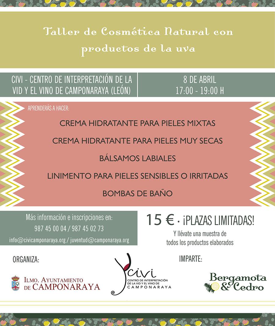 Taller de Cosmética Natural con productos de la uva. 8 de abril en el Civi de Camponaraya 1