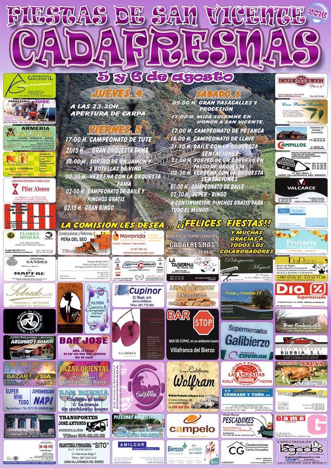 Fiestas en Cadafresnas. 4, 5, y 6 de agosto 1