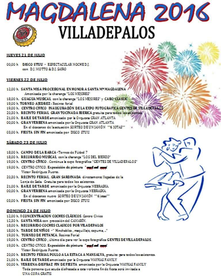 Grandes Fiestas en Villadepalos 2016 en honor a la Magdalena 1