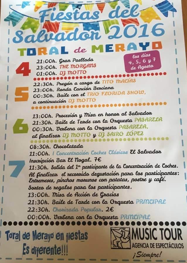 Fiestas en Toral de Merayo en honor a El Salvador. 4, 5, 6 y 7 de agosto 1