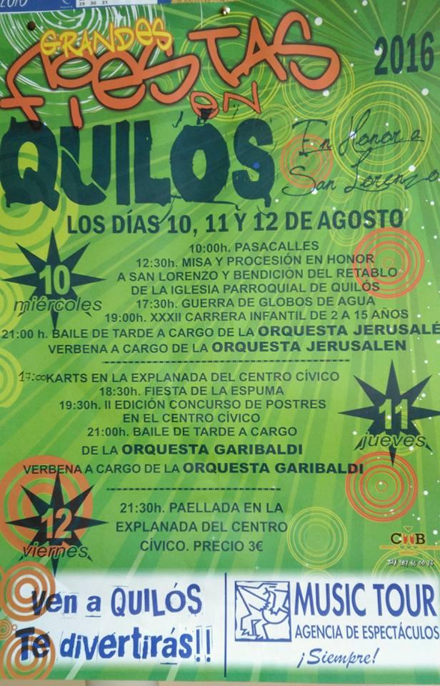 Grandes fiestas en Quilós los días 10, 11 y 12 de agosto 1