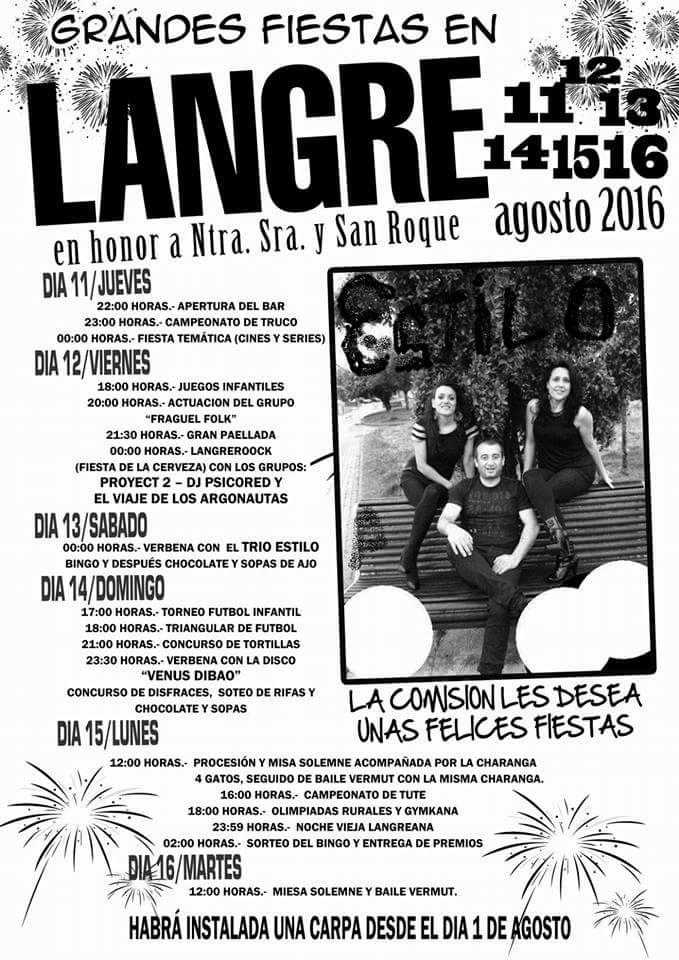Grandes Fiestas en Langre. 11, 12, 13, 14 y 15 de agosto 1
