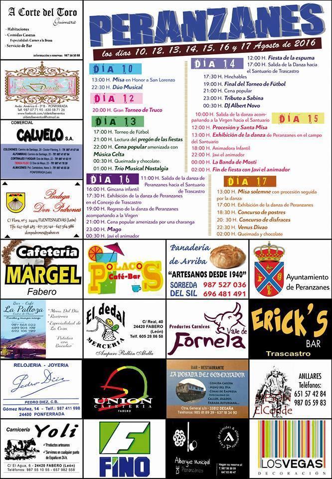 Fiestas en Peranzanes 10 al 17 de agosto 1