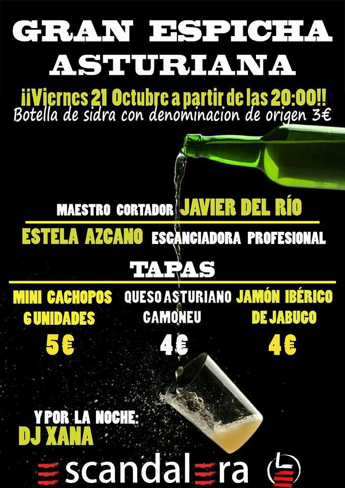 La escandalera organiza una 'espichá asturiana' para el viernes 1