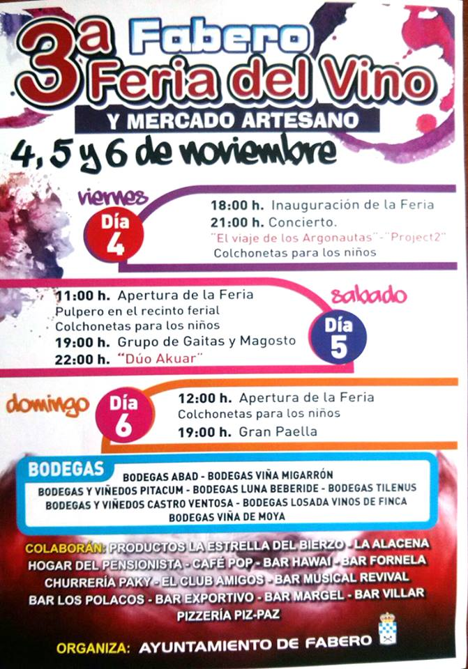 3ª Feria del Vino en Fabero los días 4, 5 y 6 de noviembre 1