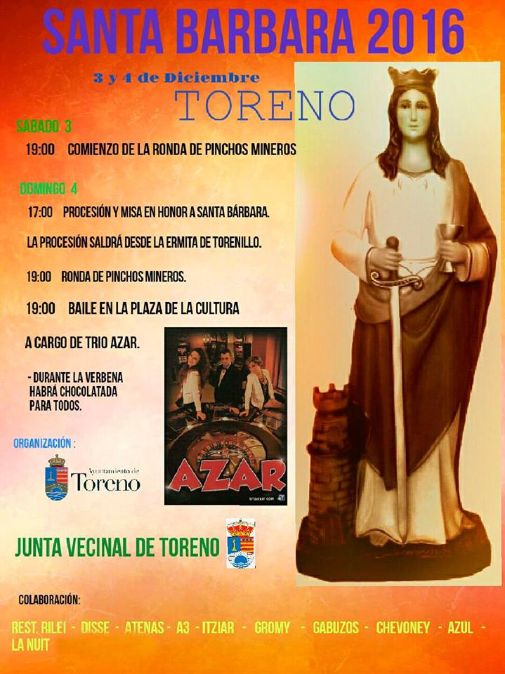 Fiestas en honor a Santa Bárbara en Toreno. 3 y 4 de diciembre 1