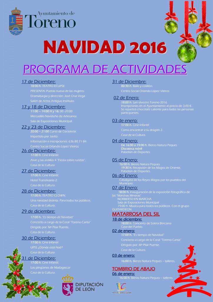 Navidad 2016 en Toreno, programa de actividades 1