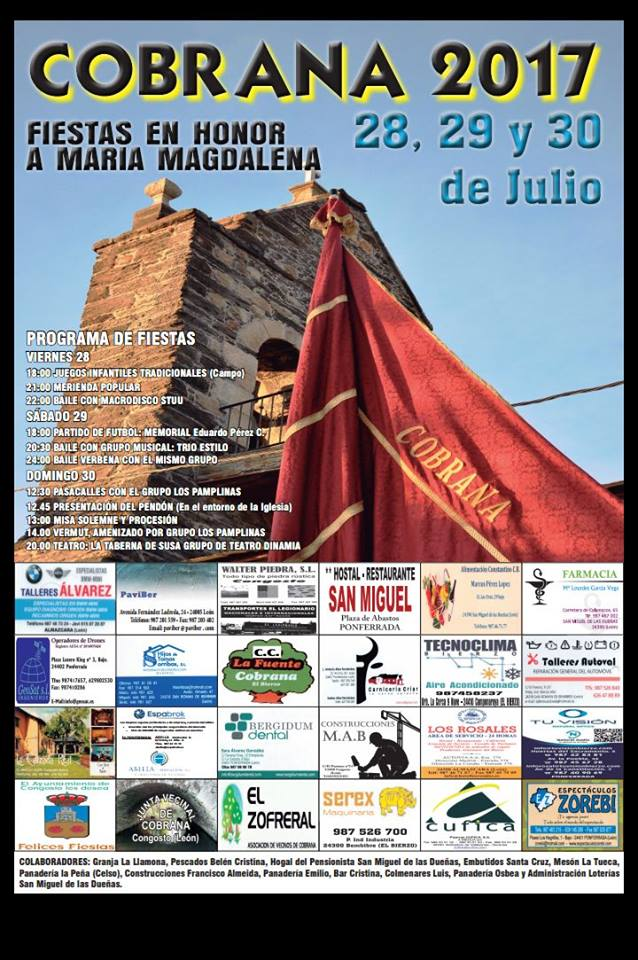 Grandes fiestas en Cobrana. 28, 29 y 30 de julio 1