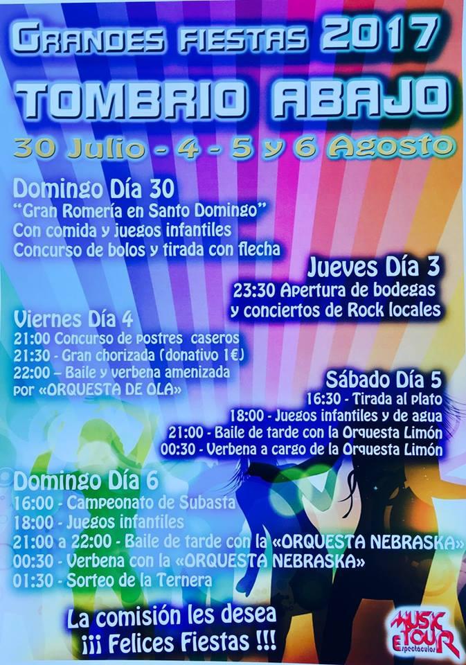 Tombrio de Abajo celebra sus fiestas. 3, 4, 5 y 6 de agosto 2017 1