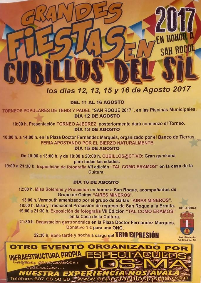 San Roque 2017 en Cubillos del Sil. 12, 13, 15 y 16 de agosto 1