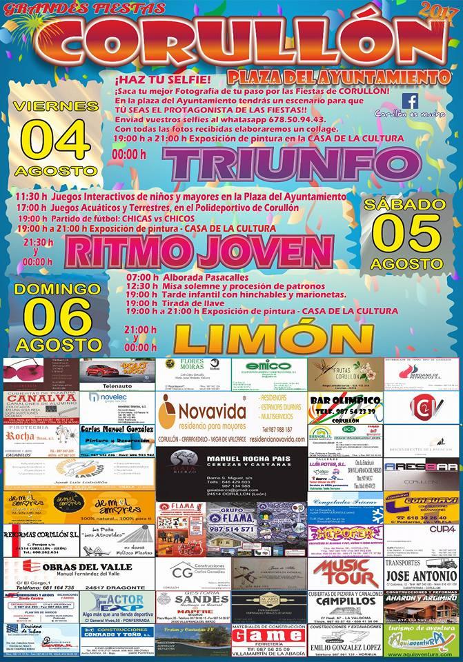 Grandes fiestas en Corullón los días 4, 5 y 6 de agosto 1