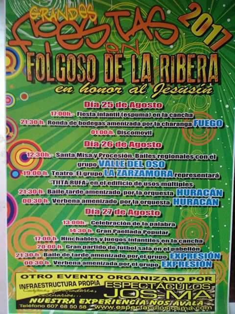 Fiestas en Folgoso de la Ribera. 25 al 27 de agosto 2017 1