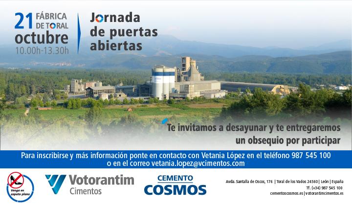 Cementos Cosmos organiza el próximo 21 de octubre una jornada de puertas abiertas en su fábrica de Toral de los Vados 1