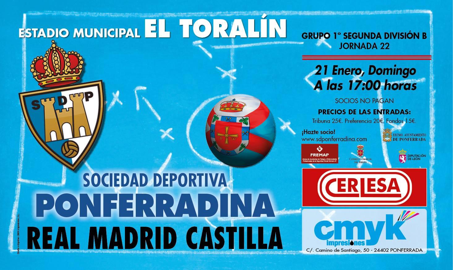 Fútbol: SD Ponferradina - Real Madrid Castilla 3