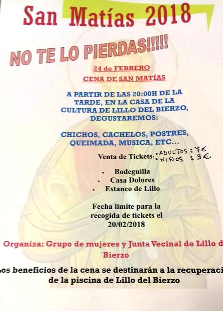 Cena de San Matías organizada por El Grupo de mujeres y Junta vecinal de Lillo del Bierzo 1