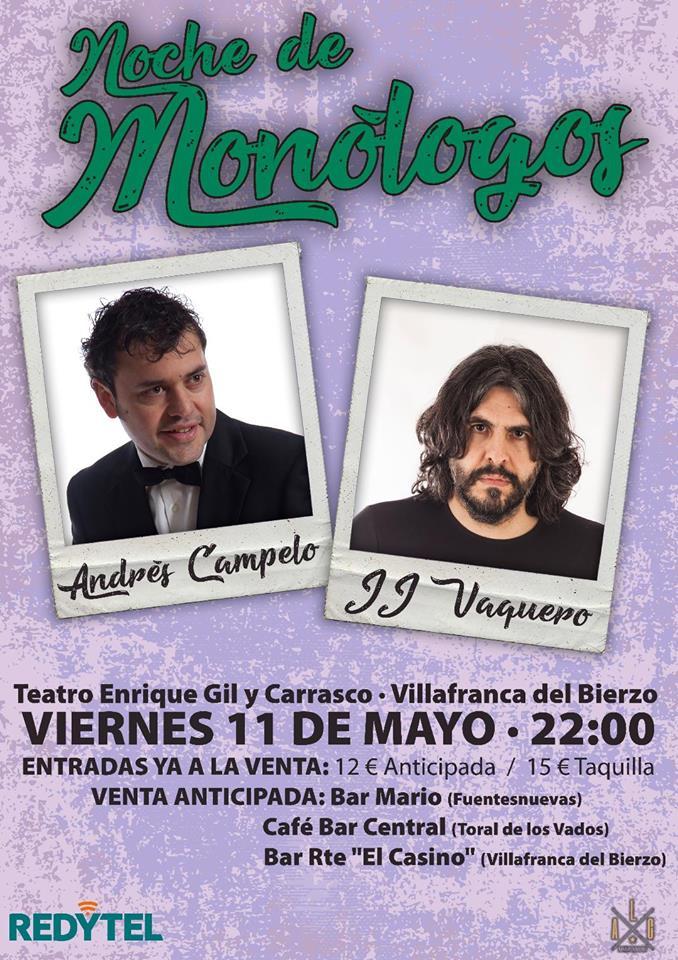 JJ Vaquero y Andrés Campelo serán los protagonistas de una noche de monólogos en Villafranca del Bierzo 1
