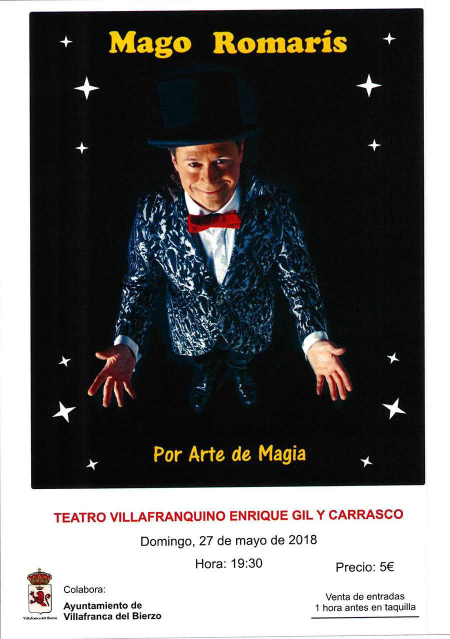 El Mago Romarís soprenderá a todos el domingo 28 de mayo en el Teatro villafranquino 1