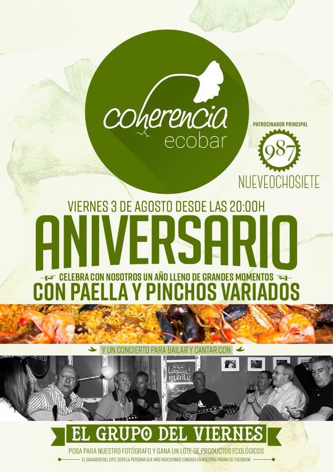 El Coherencia Bar celebra su aniversario el viernes con comida y música en directo 1