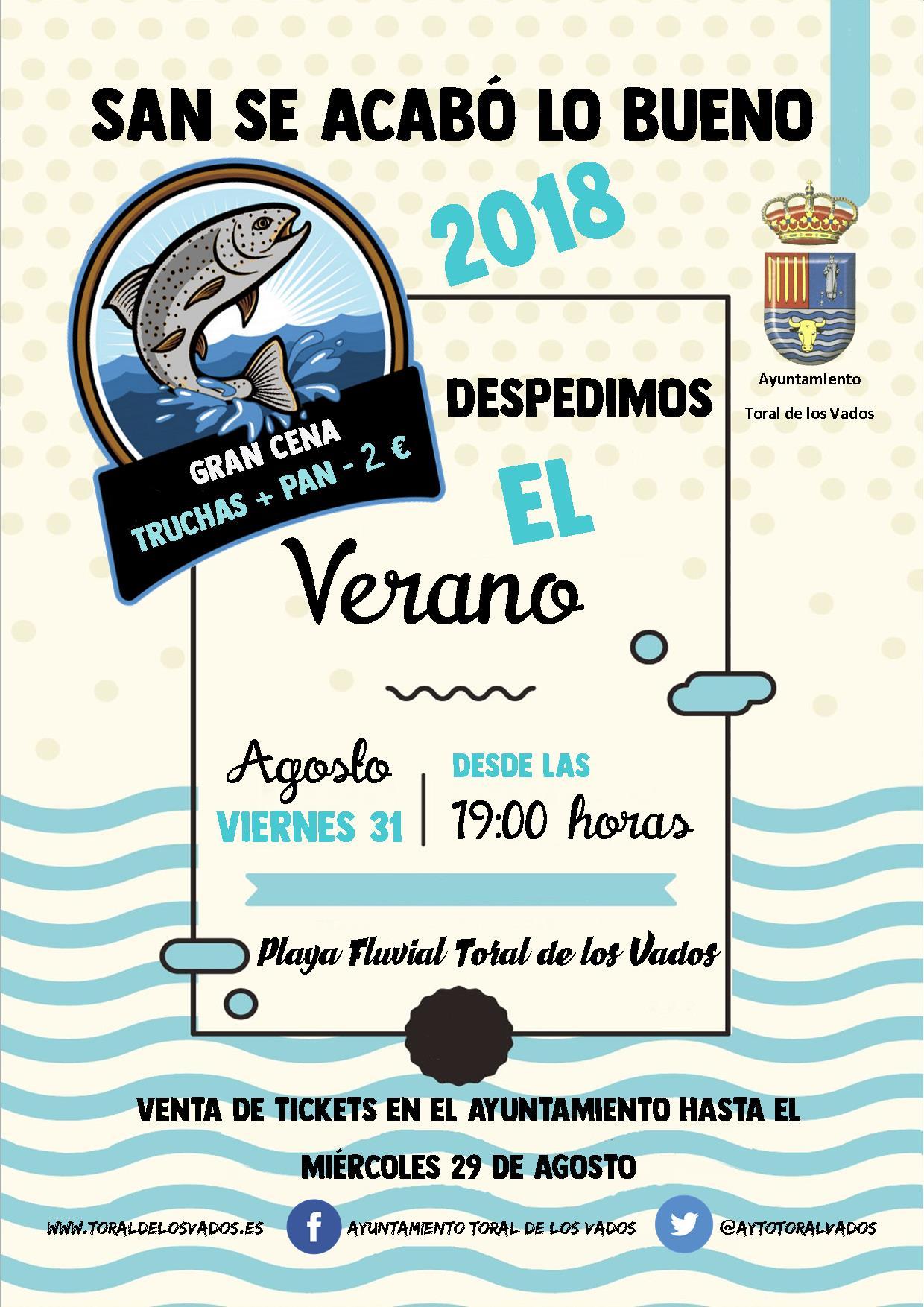 Toral de los Vados celebra 'San Se Acabó lo bueno' una cena-despedida del verano en la Playa Fluvial 1