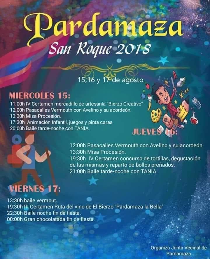 Grandes fiestas en honor a San Roque en Pardamaza del 15 al 17 de agosto 1