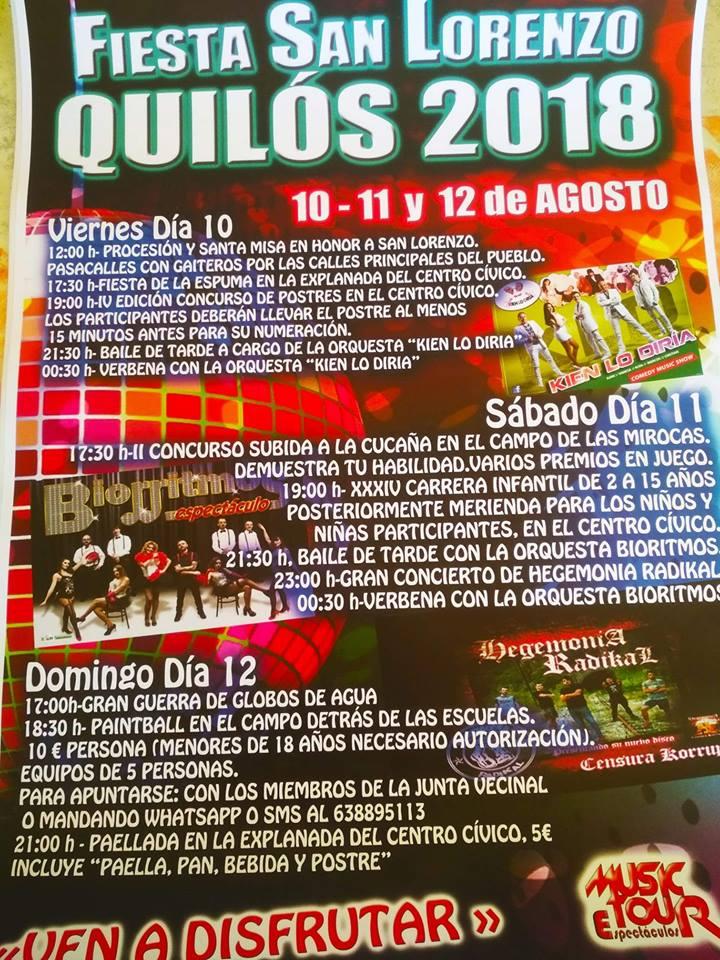 fiestas de San Lorenzo en Quilós. 10, 11 y 12 de agosto 1