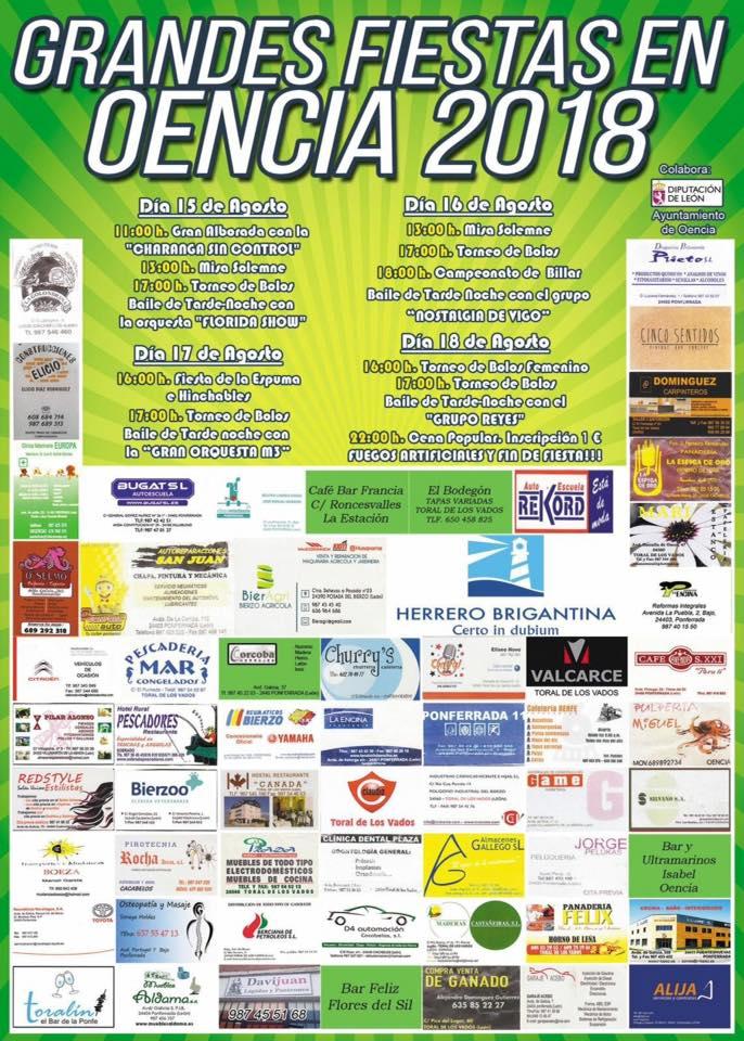 Grandes Fiestas en Oencia del 15 al 18 de agosto 1