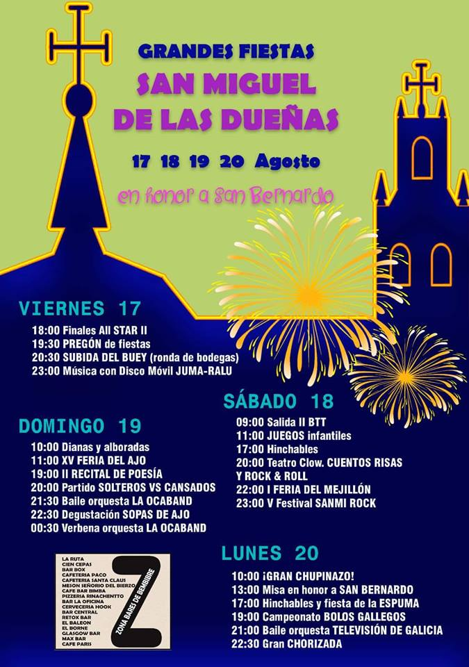 San Bernardo 2018 en San Miguel de las Dueñas, 17, 18, 19 y 20 de agosto 1