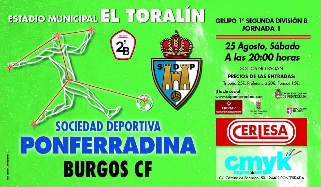 La Ponferradina recibe al Burgos el sábado 25 de agosto en el primer partido de la liga 18-19 1