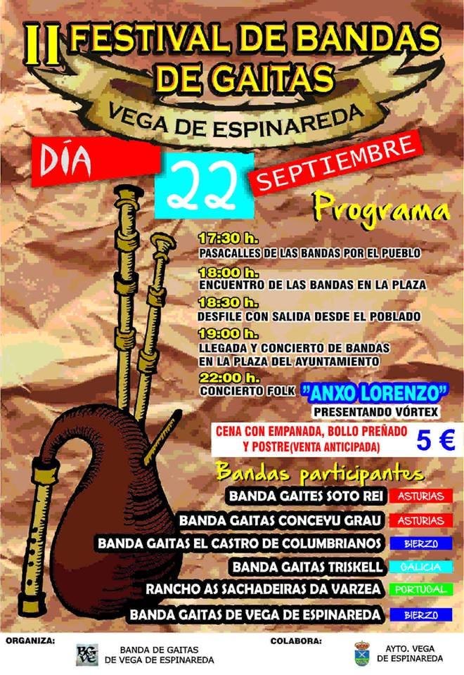 II Festival de bandas de gaitas en Vega de Espinareda 1