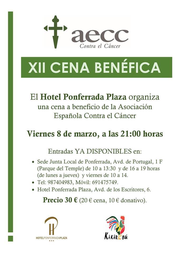 Cena a beneficio de la Asociación Española contra el Cáncer en el Ponferrada Plaza 1