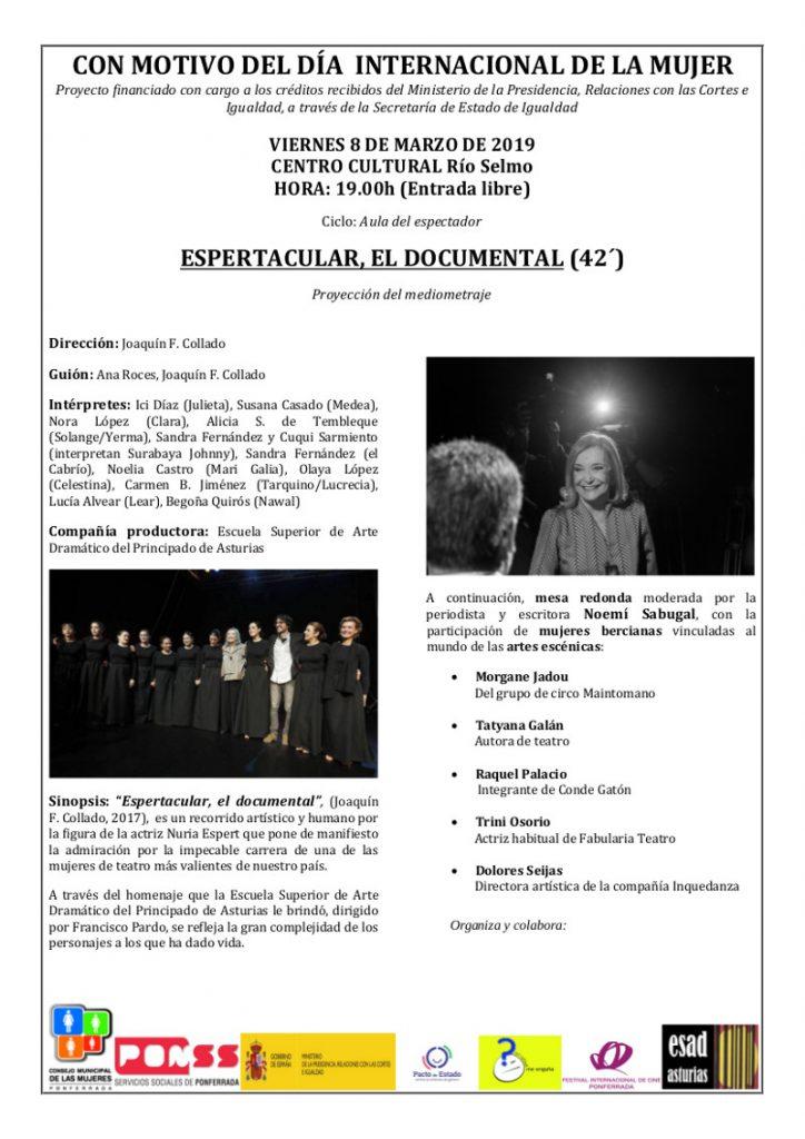 """Proyección del mediometraje """"Espertacular"""" seguido de Mesa Redonda """"Artes Escénicas"""" con motivo del """"Día Internacional de la Mujer 2019"""" 1"""