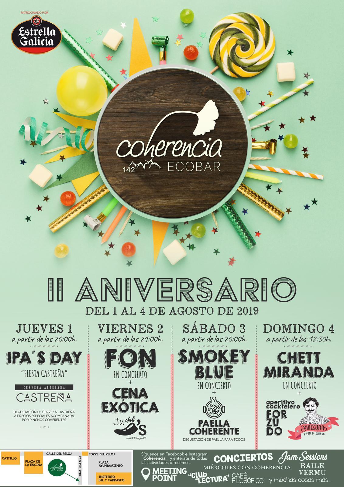 Coherencia EcoBar celebra su II Aniversario con música en directo, bebida y comida 1