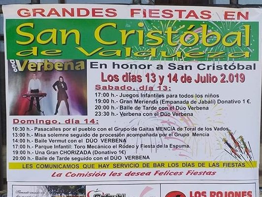 Fiestas en San Cristobal de Valdueza. 13 y 14 de julio 1