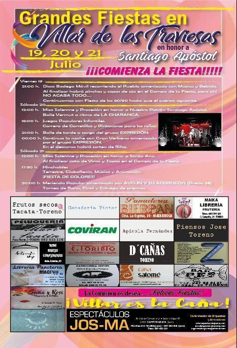 Villar de las Traviesas celebra Santiago Apostol. 19, 20 y 21 de julio 1