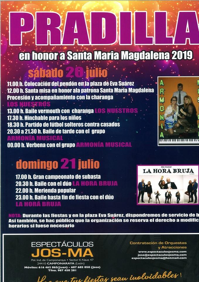 Fiestas en honor a Santa María Magdalena en Pradilla. 20 y 21 de julio 1