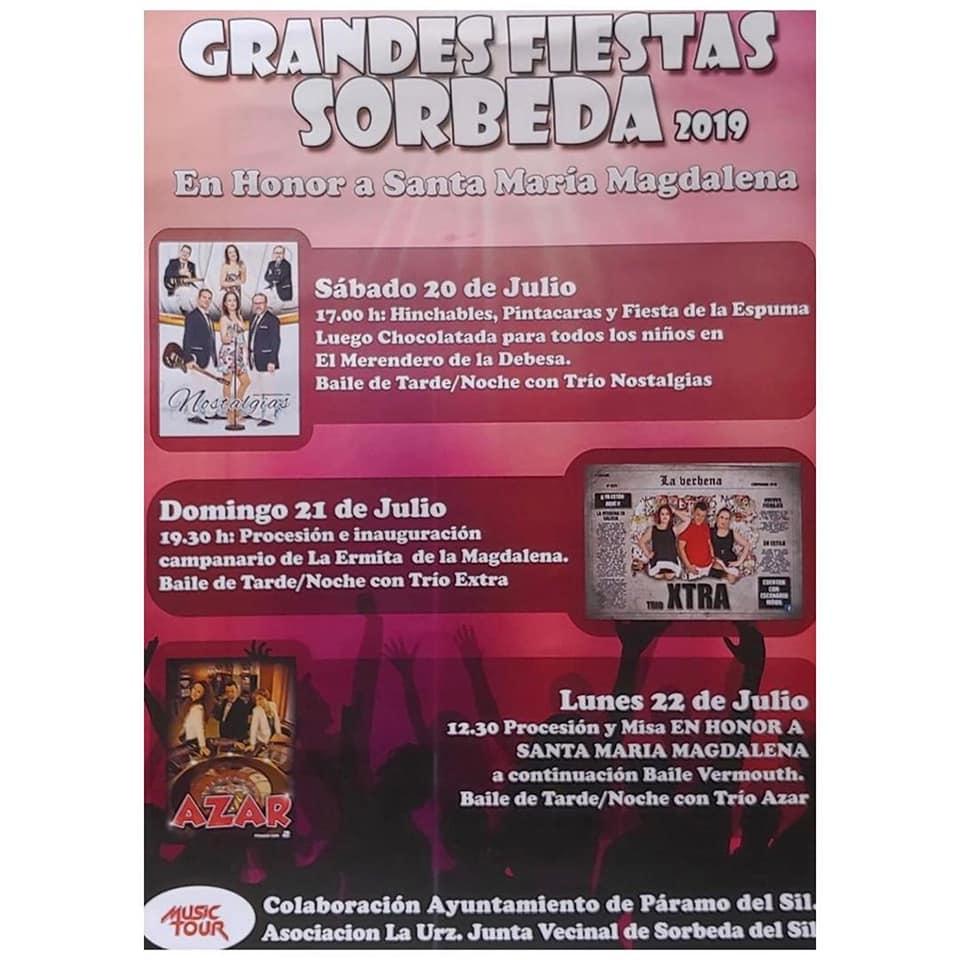 Fiestas en Sorbeda. 20, 21 y 22 de julio 1