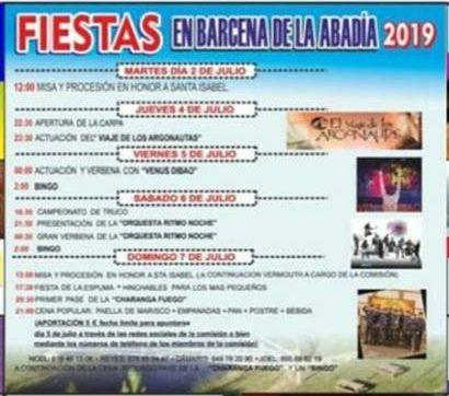 Fiestas en Bárcena de la Abadía. 5 al 9 de julio 1