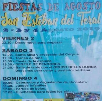 Fiestas en San Esteban del Toral. 2, 3 y 4 de agosto 2019 1