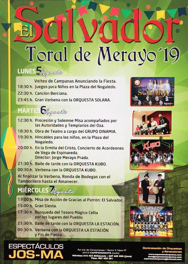 Fiestas de El Salvador en Toral de Merayo. 5, 6 y 7 de agosto 2019 1