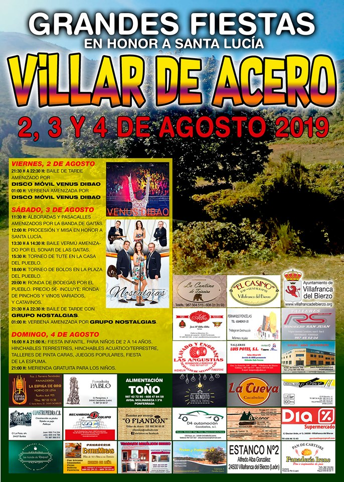 Fiestas en Villar de Acero. 2, 3 y 4 de agosto 2019 1