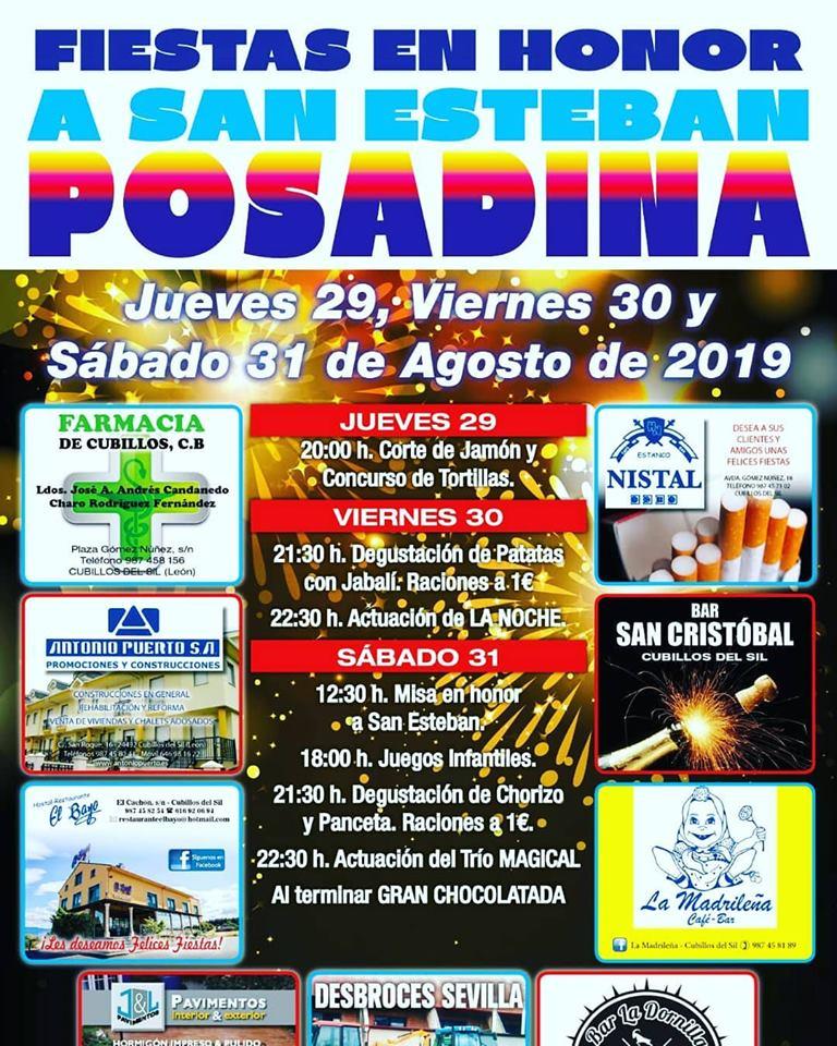 Fiestas en Posadina. 29, 30 y 31 de agosto 2019 1