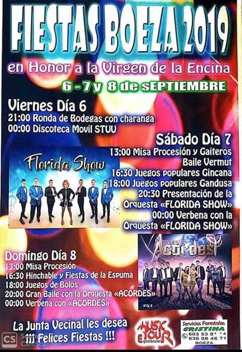 Fiestas en Boeza en honor a la Virgen de la Encina. 6, 7 y 8 de septiembre 2019 1