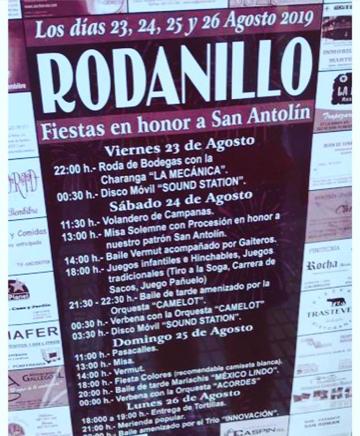 Fiestas en Rodanillo. 23 al 26 de agosto 2019 1