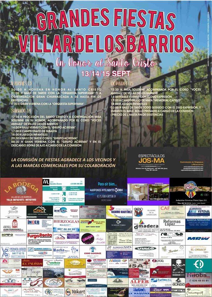 Grandes Fiestas en Villar de los Barrios. 13 al 15 de septiembre 2019 1