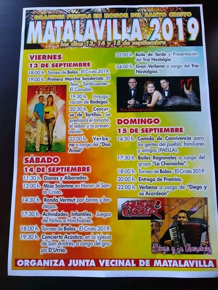 Grandes Fiestas en Matalavilla 2019. 13 al 15 de septiembre 1