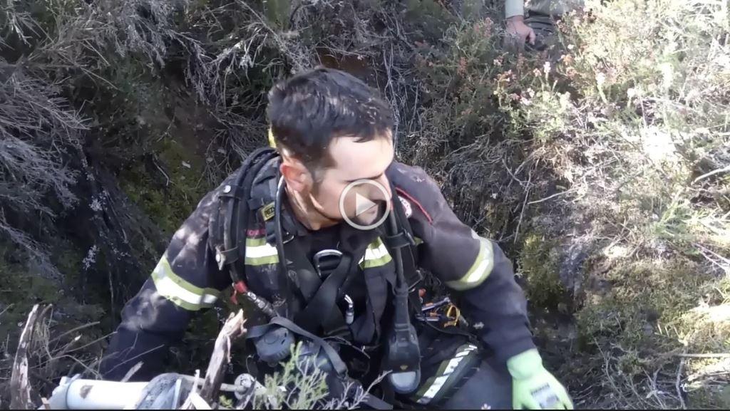Los Bomberos de Ponferrada realizan un complicado rescate de dos perros en Santa Cruz de Montes 1