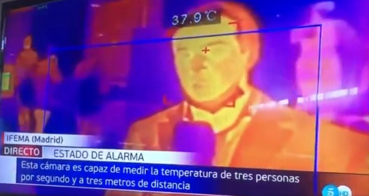 Un reportero de Telecinco, muestra el funcionamiento de una cámara térmica y detecta un posible positivo por coronavirus 1