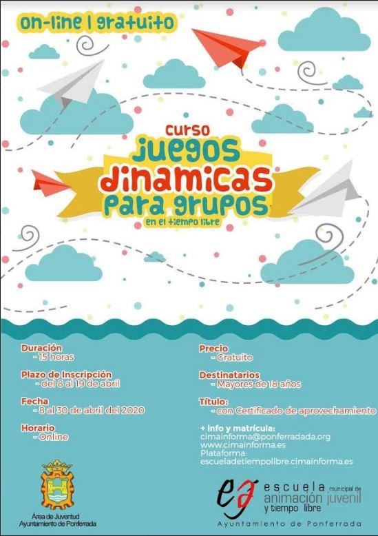 Curso online de 'Juegos, dinámicas para grupos' organizado por el área de Juventud del Ayuntamiento de Ponferrada 1