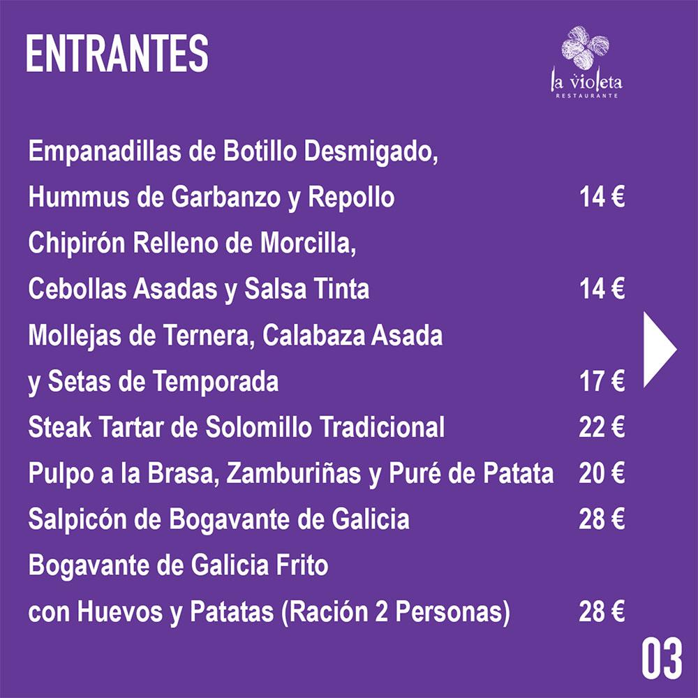 El Restaurante La Violeta estrena carta y dispone de nuevo servicio de comida a domicilio 6